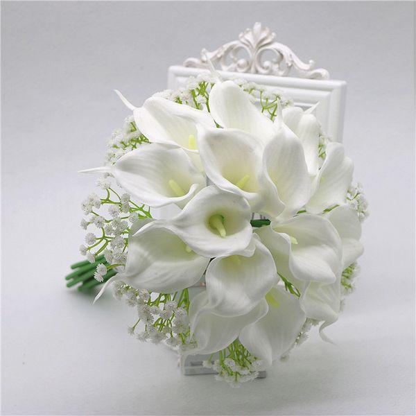 wedding bridesmaid flowergirl bouquet white calla lily babysbreath bouquet artificial flowers