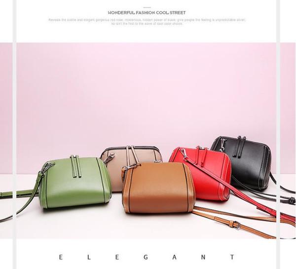 real leather women bag2018 new style handbag cross pattern genuine leather shell bag chain Bag Shoulder Messenger Small Bag cross body