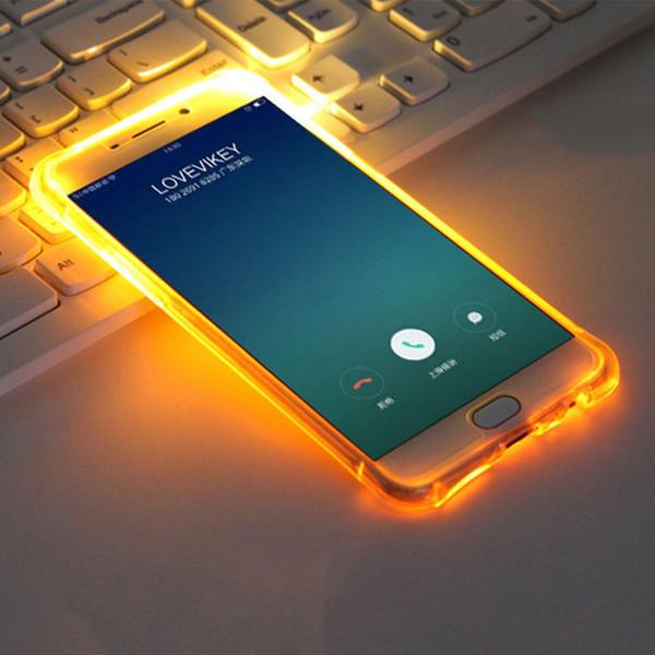 Yeni trend led flaş ışığı şeffaf glitter kum led tpu sıvı telefon kılıfı için iphone 7/7 artı
