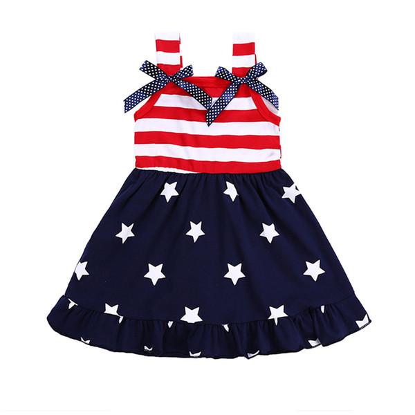American Flag 4th Of July Le ragazze vestono i bambini Bowknot il vestito a strisce I bambini di estate Star Baby Spaghetti Vest Princess Dress 2018