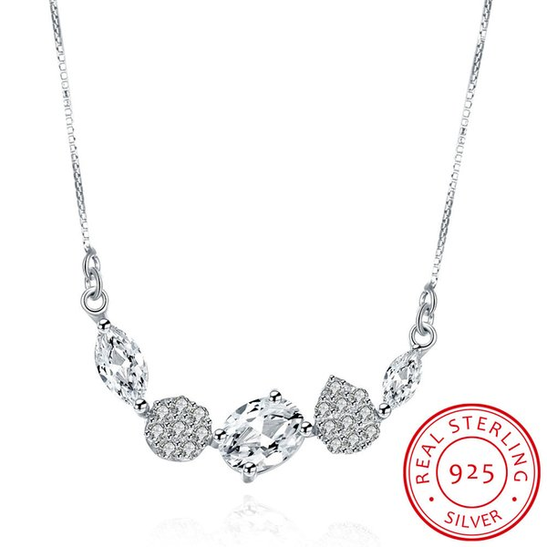 925 sterling silver necklace five crystals linked pendant with chain morden zircons necklace gorgeous wedding&engagement necklace