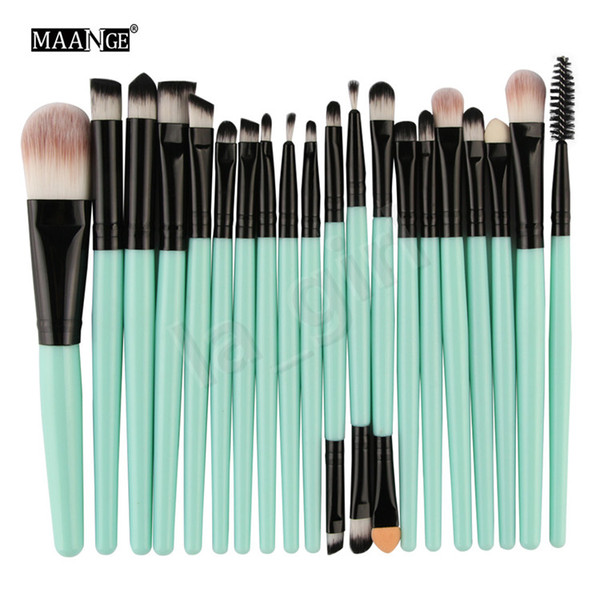 MAANGE 20pcs / set Pro Eye Shadow Lash Foundation Eyeliner Eyebrow Lip Brushes Kits Pinceles de maquillaje Herramientas Cosméticos Belleza Maquillaje Brush