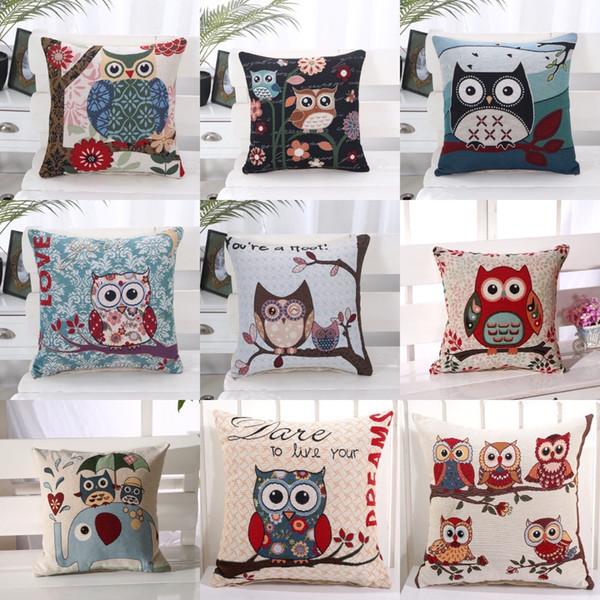 45 cm * 45 cm gufo cotone e lino federa cuscino divano sedia riscaldamento schienale cuscino per bambini in camera anime decorazione tiro cuscino