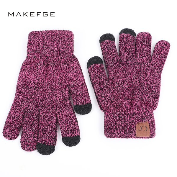2018 Brand High Quality Knit Gloves Man Woman Warm Mittens Plus Velvet Thicken Gloves for touch screens Wool Cashmere Unisex D18110806