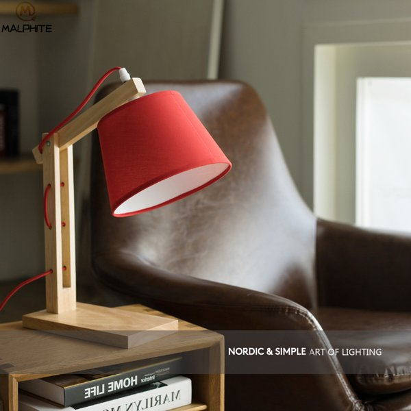 American Solid Wood Table Lamp Living Room Table Lamps For Bedroom Bedside Lamp Nordic modern Home Deco Red Luminaire Table
