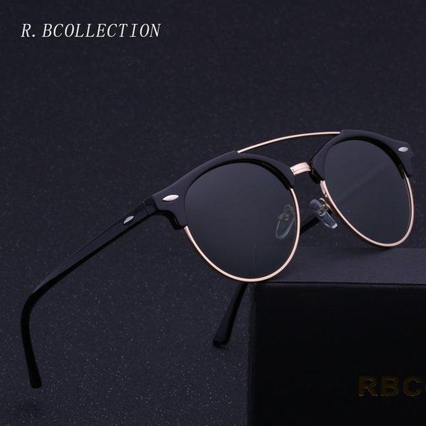 2018 gafas de sol redondas de marca de moda polarizadas semi-sin montura  montura de 9aa2db24b768