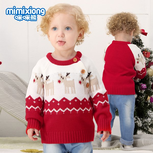 2018 boy girl christmas clothing red reindeer sweaters pullover for toddlers buttons shoulder knitwear fall autumn winter boutique clothing