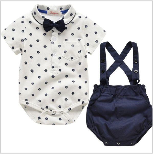 Estilo verão Cavalheiro Do Bebê Meninos Conjuntos de Roupas Macacão + Suspender Shorts + Bowtie 3 pcs Conjunto Criança Ternos Roupas Infantis Crianças Roupas de Varejo