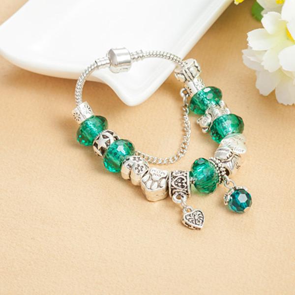 Green Murano Glass Charms Heart Pendants Bracelet for Pandora Charm Silver Snake Chain Bracelets Bangle for Women Gift