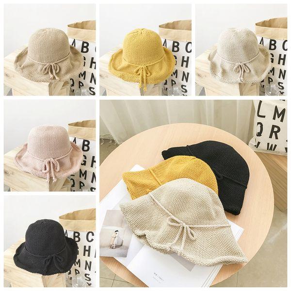 5styles Knit Solid hat Bow basin cap Japanese retro literary fisherman hat female summer casual student folding party sunhat GGA798