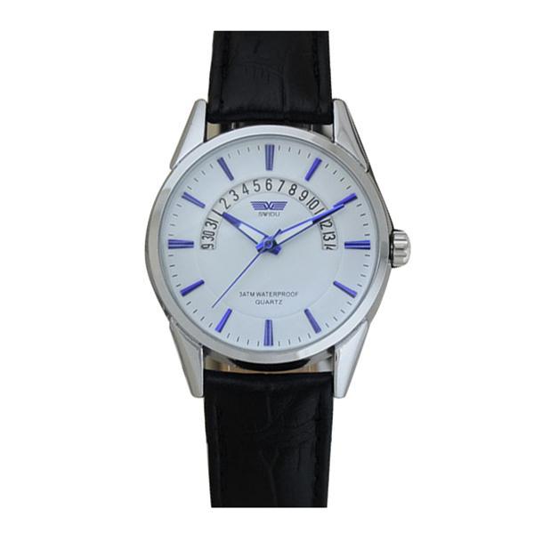 SWIDU кожа часы обернуть кварцевые повседневные часы календарь наручные часы мужчины