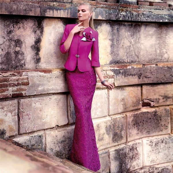 Elegant Violet Mermaid Mutter Kleider Square Neck Lace Formale Kleid mit Jacke bodenlangen Hochzeitsgast Kleid