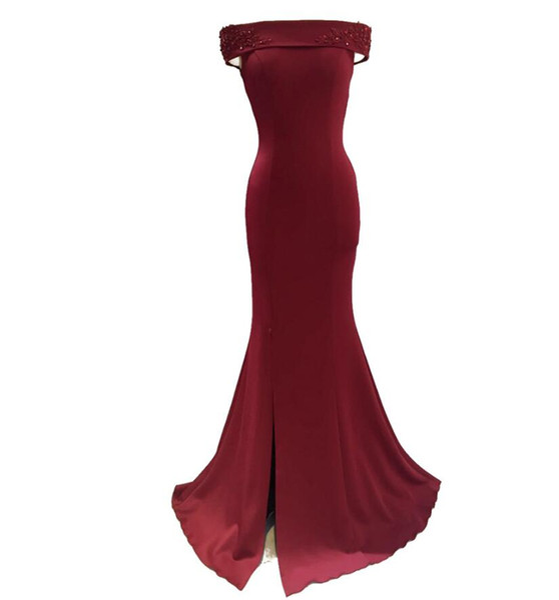 Women Off Shoulder Mermaid Burgundy Slit Prom Dresses Long Satin 2018 Floor Length Open Back with Zipper Evening Gowns Custom Made