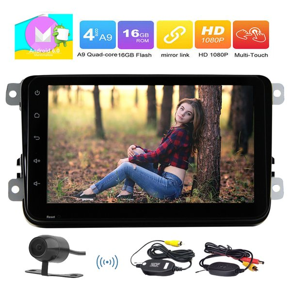 Wireless Backup Camera+EinCar Android 6.0 Car Player 8'' HD Touch Screen Car Stereo In Dash GPS Navigation Car Entertainment System AM FM