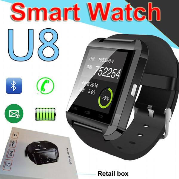 Bluetooth U8 SmartWatch наручные часы с сенсорным экраном для iPhone7 Samsung Android-телефон Смарт-часы с розничной упаковкеЗавод завод XCTU93