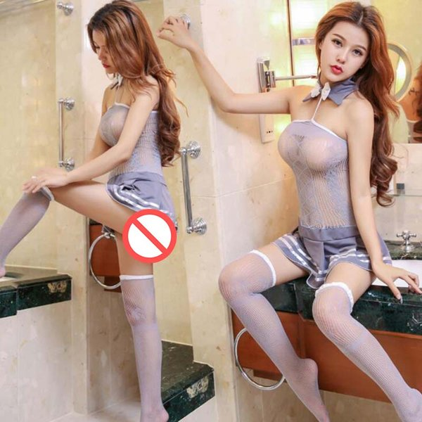 Hot Sale Free Size High Quality School girl Uniform Hollowed Out Erotic Costume For Women free shipping