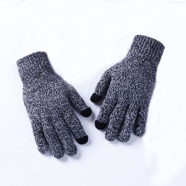 Winter Cashmere Knitted Gloves Men Touched Screen High Quality Male Mittens Thicken Warm Wool Unisex Full Finger Gloves