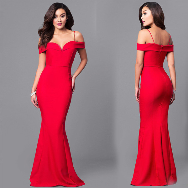 sale Red Mermaid Evening Gown Multiway Capped Sleeves and Trumpet Flare Hem, Sexy Fit n Flare Burlesque Pin Up Gown