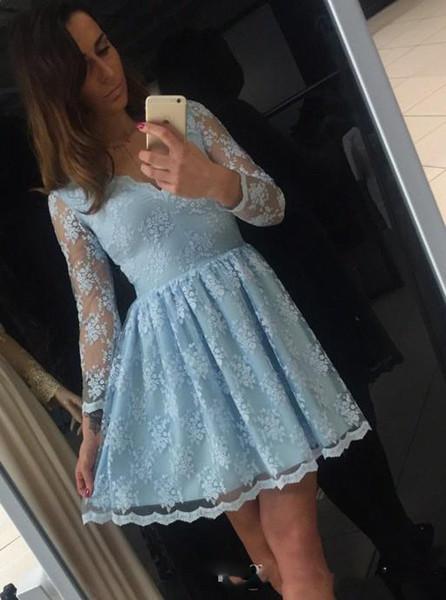 Vestido de fiesta de manga larga de encaje cóctel Fiesta Vestidos cortos de noche con cuello en v Mini Sweet 16 Girls Party Dress Custom Made Online