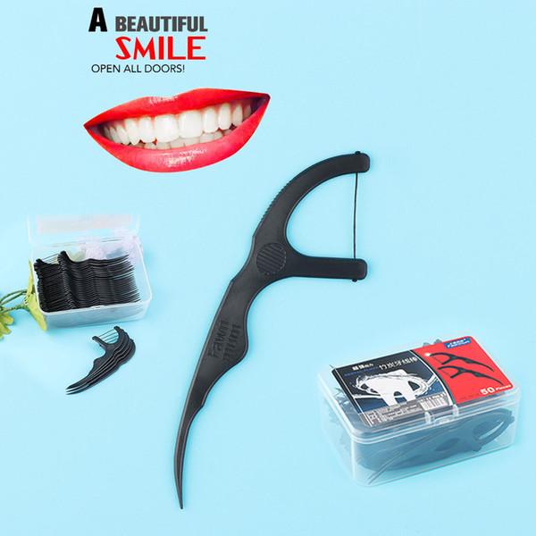 b6ead3ebe 50 Pçs   set Carvão De Bambu Fio Dental Varas Dentes Pincel de Dentes  Interdental Escova