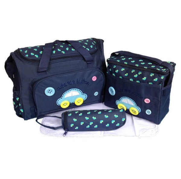 Baby Diaper Nappy Changing Bags Car Button Printed 4Pcs/Set Multifunctional Washable Cloth Mummy Bags Bottle Storage Bag 20sets OOA5769