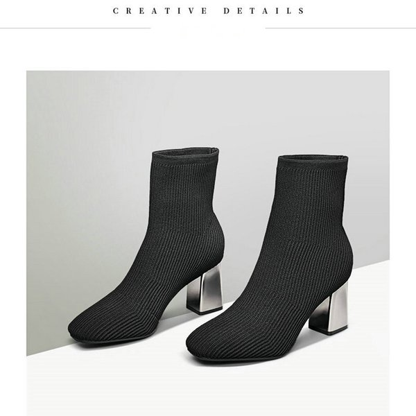 Großhandel 2018 Neue Mode Knöchel Frauen Grundlegende Stiefel Herbst Pullover Schwarz Atmungsaktive Schuhe Frau High Heels Damen Weichen Beliebtesten