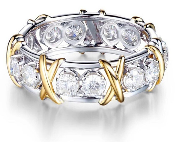 Exquisite Blanc Saphir Argent 925 Mariage Bande Bague Femmes Fashion Taille 6 7 8 9