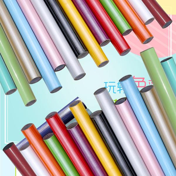 Neue HEIßE Verdickung farbe perle möbel renovierungsschrank kleiderschrank aufkleber pvc einfarbig selbstklebende tapete wasserdicht