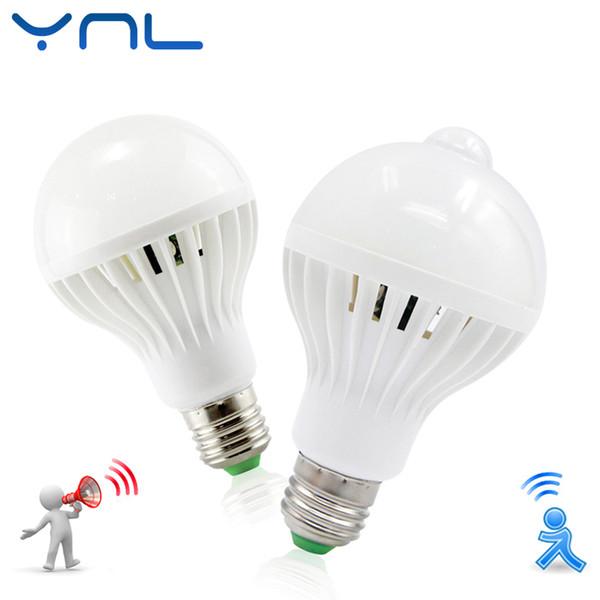 Led lamba pir kızılötesi motion / ses + ışık sensörü kontrol e27 3 w 5 w 7 w 9 w 12 w otomatik Akıllı Sensör Beyaz Lampada LED Ampul işık