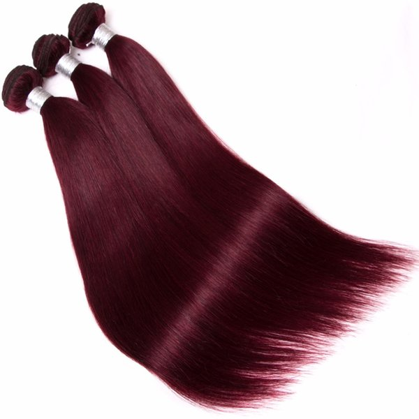 10A Grade Per-colored Brazilian Hair Weave Bundles Straight 3 Bundles 99J Red Color Remy Hair 8-30 Inch