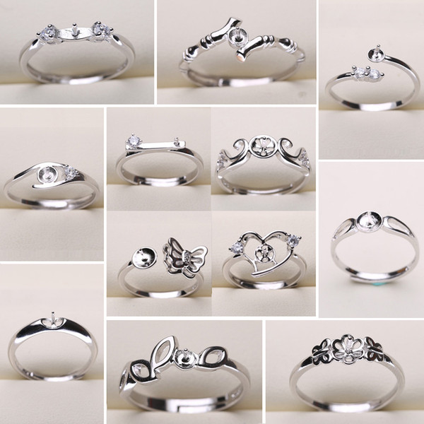 best selling DIY Pearl Ring Settings 925 Sliver Rings Settings 20 Styles DIY Rings Adjustable size Jewelry Settings Christmas Statement Jewelry