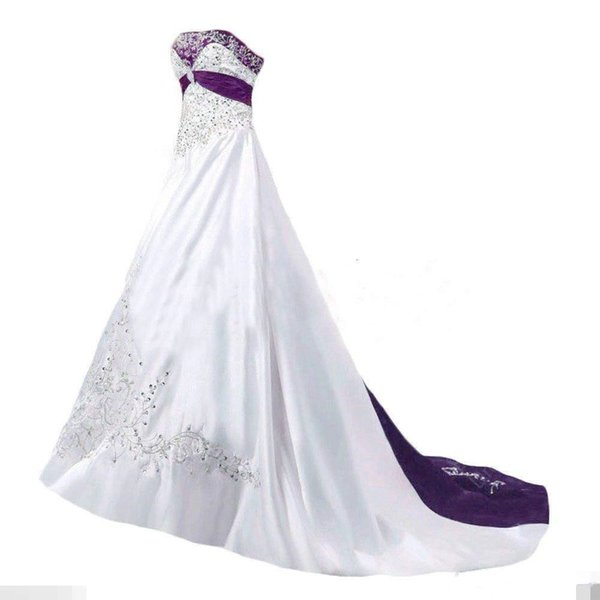 REAL IMAGE Elegant Wedding Dresses 2019 A Line Strapless Beaded Embroidery White Purple Vintage Bridal Gown Custom Made High Quality