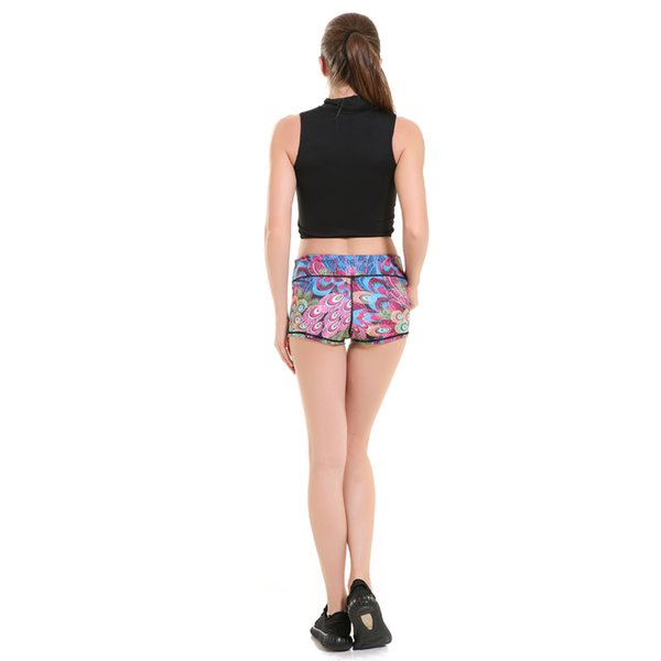 Frecici Peacock Feather Sports Shorts Women Compression High Waist Yoga Shorts Runner Leggings Fitness