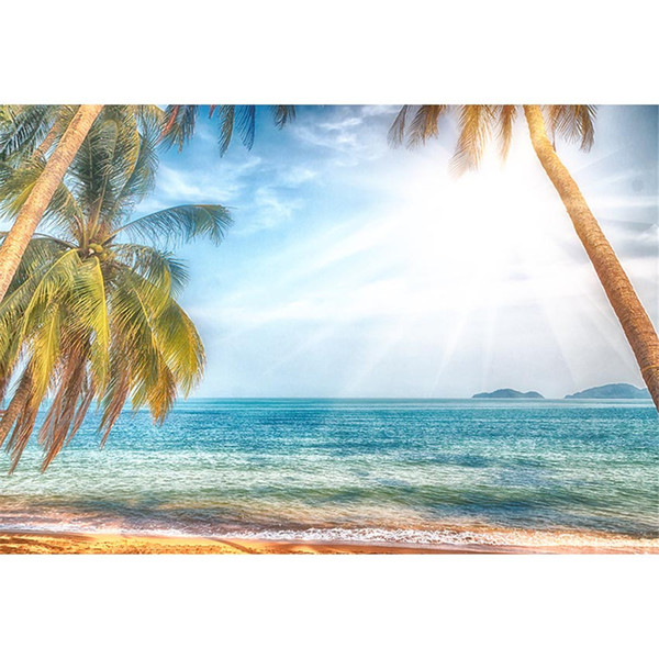 Tropical Beach Backdrop Photography Palm Trees Dreamlike Sunshine Blue Sky Summer Holiday Seaside Wedding Party Photo Booth Background