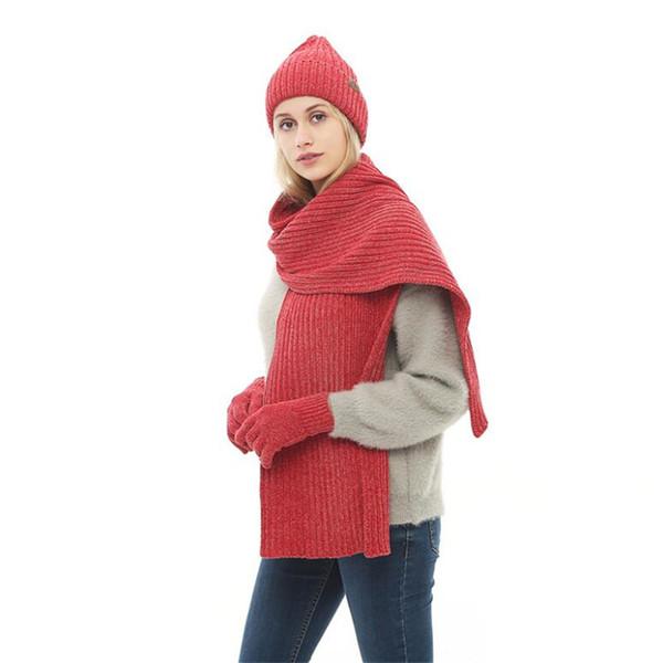 IANLAN Unisex Winter Solid Sets Hats + Scarves + Touch Screen Gloves for Men Women Knit Beanies Muffler Mitten Sets IL00198