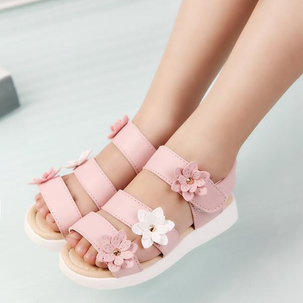 Летний стиль Детские сандалии Девочки Принцесса Красивые цветочные туфли Детские сандалии на плоской подошве Девочки римские туфли