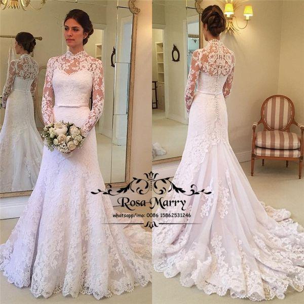 2019 Winter Vintage Lace Mermaid Wedding Dresses Detachable Jacket Plus Size Long Sleeves Country Beach Fall Bridal Gowns Vestido De Novia