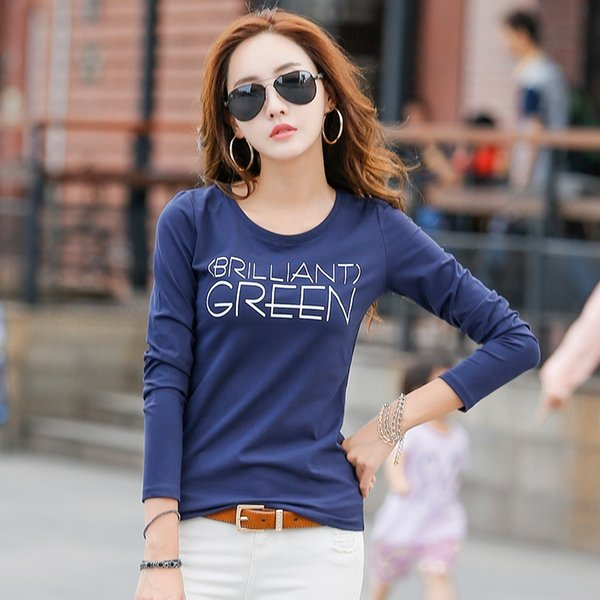 2017 New Autumn Winter Long Sleeve T Shirt Women Letter Print Fashion T-shirts For Women Cotton Ladies Tops Tees Basic T-shirt S18100903