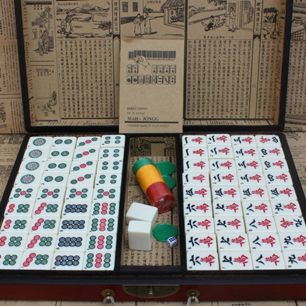 Top Quality Large Size Bamboo Retro Mahjong Rare Chinese 144 Mah Jong Set With Case Box For Board Games Gifts War Board Games Classic Monopoly Board