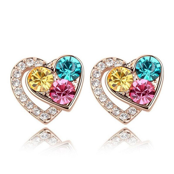 Wholesale Heart Earring For Girl Crystal Stud Earrings Geometric Rhinestone Minimalist For Women Jewelry Free Shipping