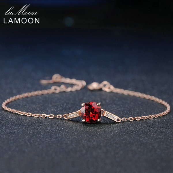 Lamoon 100% Natural Gemstone Classic Red 7mm Garnet 925 Sterling Silver Jewelry Chain Charm Bracelet S925 LMHI008Y1882701