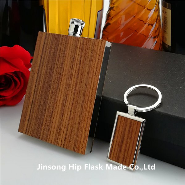 3oz Rosewood wrapped hip flask with rosewood wrapped stainless steel keychain,high quality ,No scratch
