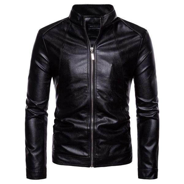 Winter Men Motorcycle Jacket Outwear Zipper Black Male Soft PU Leather Biker Coat High Quality Plus Size PU Men Jacket Coat M-5XL J180767