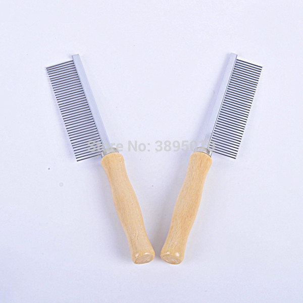 Stainless Steel Pet Comb for Dog Cat Hair Removal Single Row Straight Comb Long Wood Handle Puuply Hair Remover Hair Brush F1122