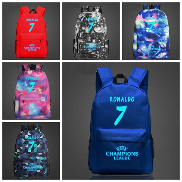 15 styles Ronaldo 7 Noctilucous Luminous Backpacks children school bags cavas women man Shoulders bag MMA324 6pcs