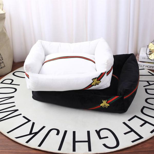 Marque de luxe Abeilles Couchette Crémeux Couleur Niche Teddy sommeil doux et chaud Lit Puppy Cat Mat Pad Maison Fournitures pour chien S-XL