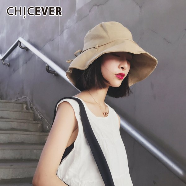 CHICEVER Bow Lace Up Summer Female Women Hat Casual Folding Dome Large Brim Hat For Women's Cap 2018 Korean Fashion