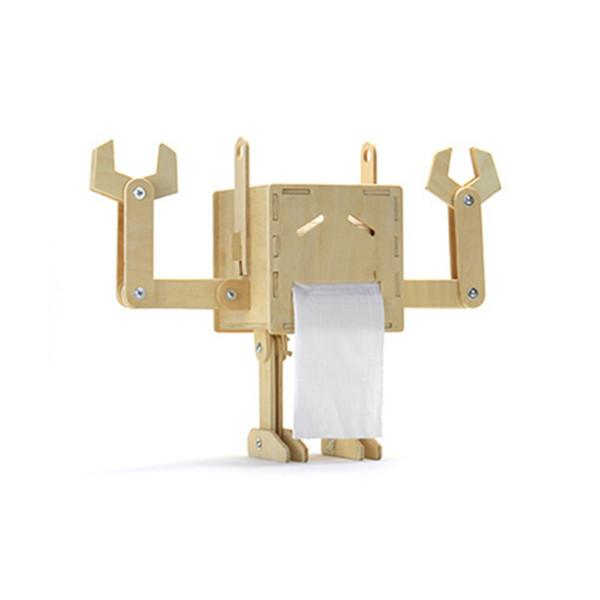 Creativo Robot Divertente FAI DA TE In Legno Scatola Del Tessuto Assemblaggio Caso Del Tessuto Tipo di Rotolo Portatovaglioli Casa Decorazione Auto Ornamenti Regali