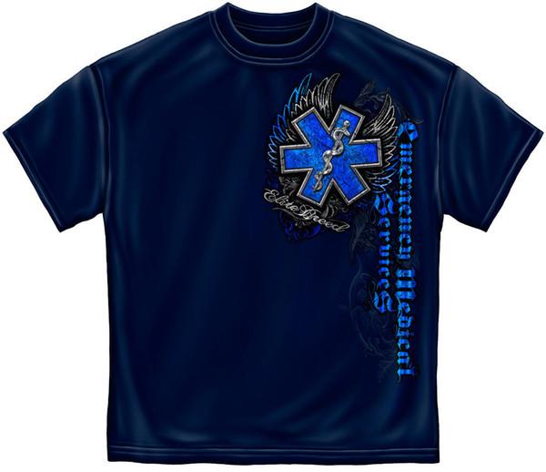 New Fashion Mens Short Sleeve Tshirt Cotton Mens Graphic Apparel T Shirt Ems Chrome Wings T Shirt