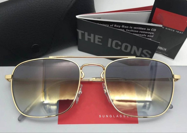 Luxury designer brand womens sunglasses glass polarized square square full frame male classic glasses with box